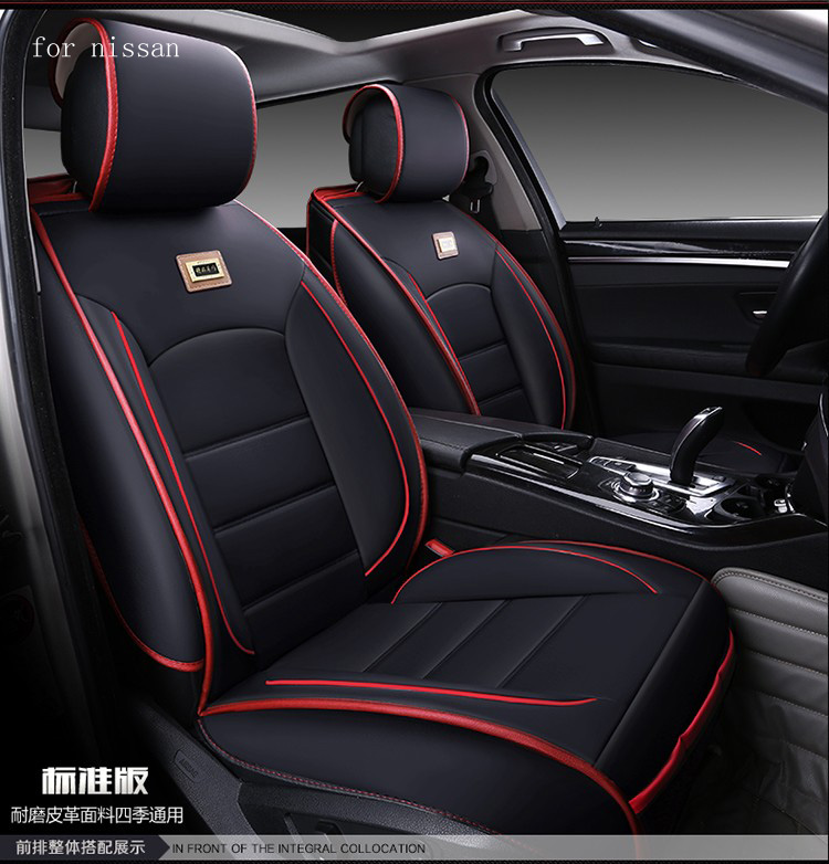 For nissan qashqai juke x-trail Murano teana black waterproof soft pu leather car seat covers brand design front&rear full seat