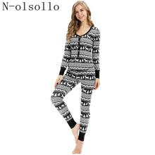 N-olsollo Black white Snowflake Deer 3D Print Christmas Pajamas For Women  Sleepwear Long 1e3e4c341