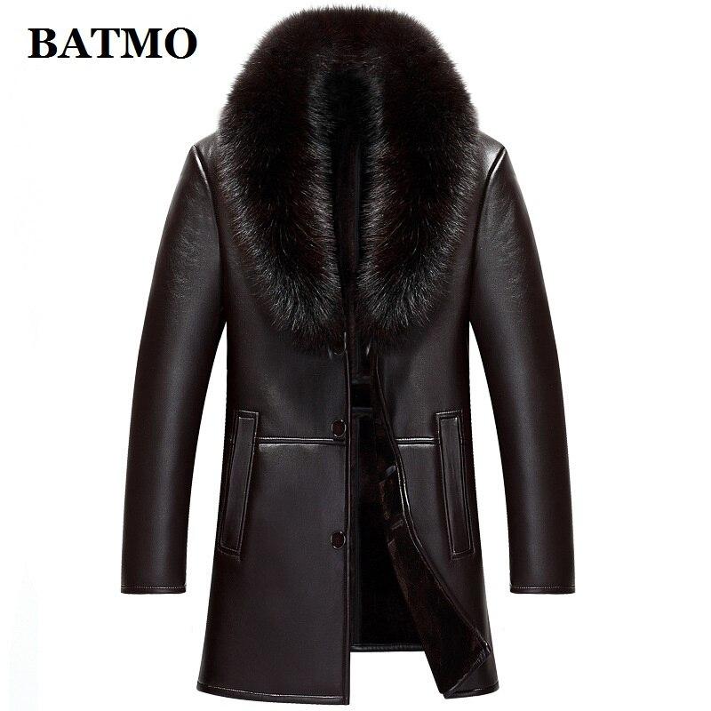 BATMO 2019 new arrival winter high quality real leather fox fur collars trench coat men men BATMO 2019 new arrival winter high quality real leather fox fur collars trench coat men ,men's winter Wool Liner parkas AL18