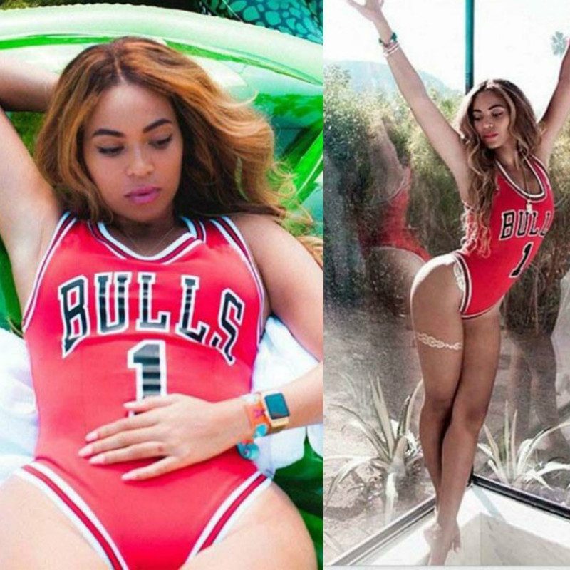 b2ba22870b74 2018 New Summer Style Beyonce Rihanna Miley Star Jumpsuit BULLS 1 Bodysuit  One Piece Swimsuit Women Jumpsuit-in Bodysuits from Women s Clothing on ...
