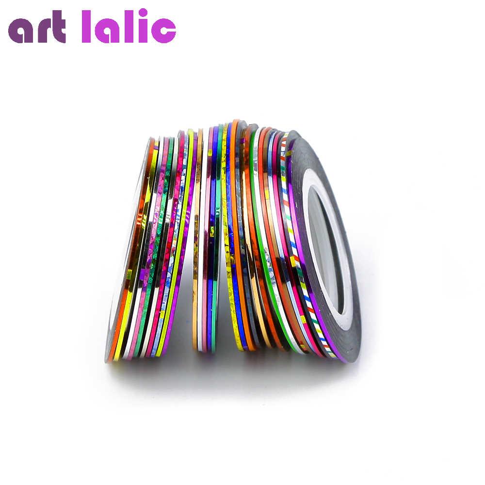 Etiquetas decorativas da arte do prego, 30 cores misturadas multicolorido dos pces 30 rolls striping adesivos da fita para o prego
