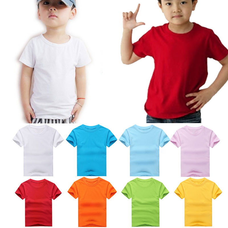 Kids Cotton T-Shirts Boys Girls Plain TShirt Childs Quality Crew Neck School Tee