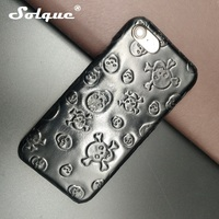 Solque Natural Real Genuine Cow Leather Skull Cover Cases For IPhone 8 Plus Cell Phone Luxury