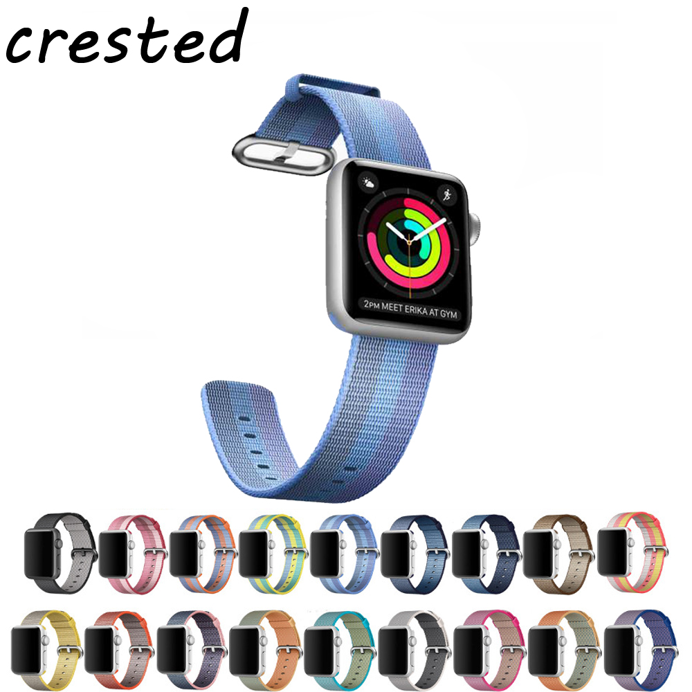 CRESTE Nylon watch strap For apple watch band 42mm/38mm bracelet wrist watchband for iwatch series 3/2/1 replacement watch belt