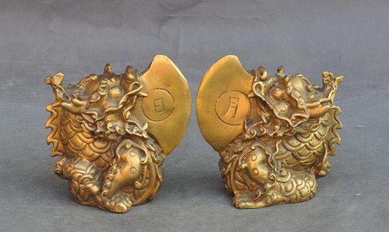 wedding decoration china brass fengshui sun Moon Arowana Dragon Fish Scleropages beast statue pairwedding decoration china brass fengshui sun Moon Arowana Dragon Fish Scleropages beast statue pair