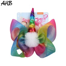 AHB 2019 NEW 8 Large Hair Bows Clips for Girls Summer Rainbow Yarn Jo with Horn White Pompom Party Kids Hairgrips