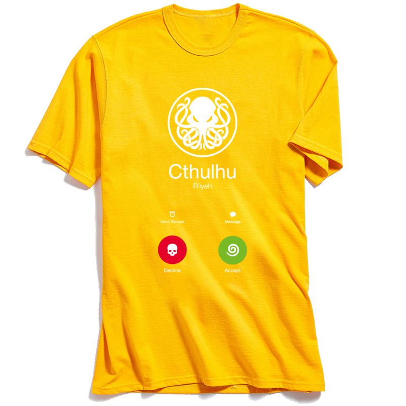 NormalCasual Short Sleeve Tops Shirt Summer/Fall Funny Crew Neck Cotton Fabric Sweatshirts Boy T Shirt THE-CALL-OF-CTHULHU  THE-CALL-OF-CTHULHU yellow