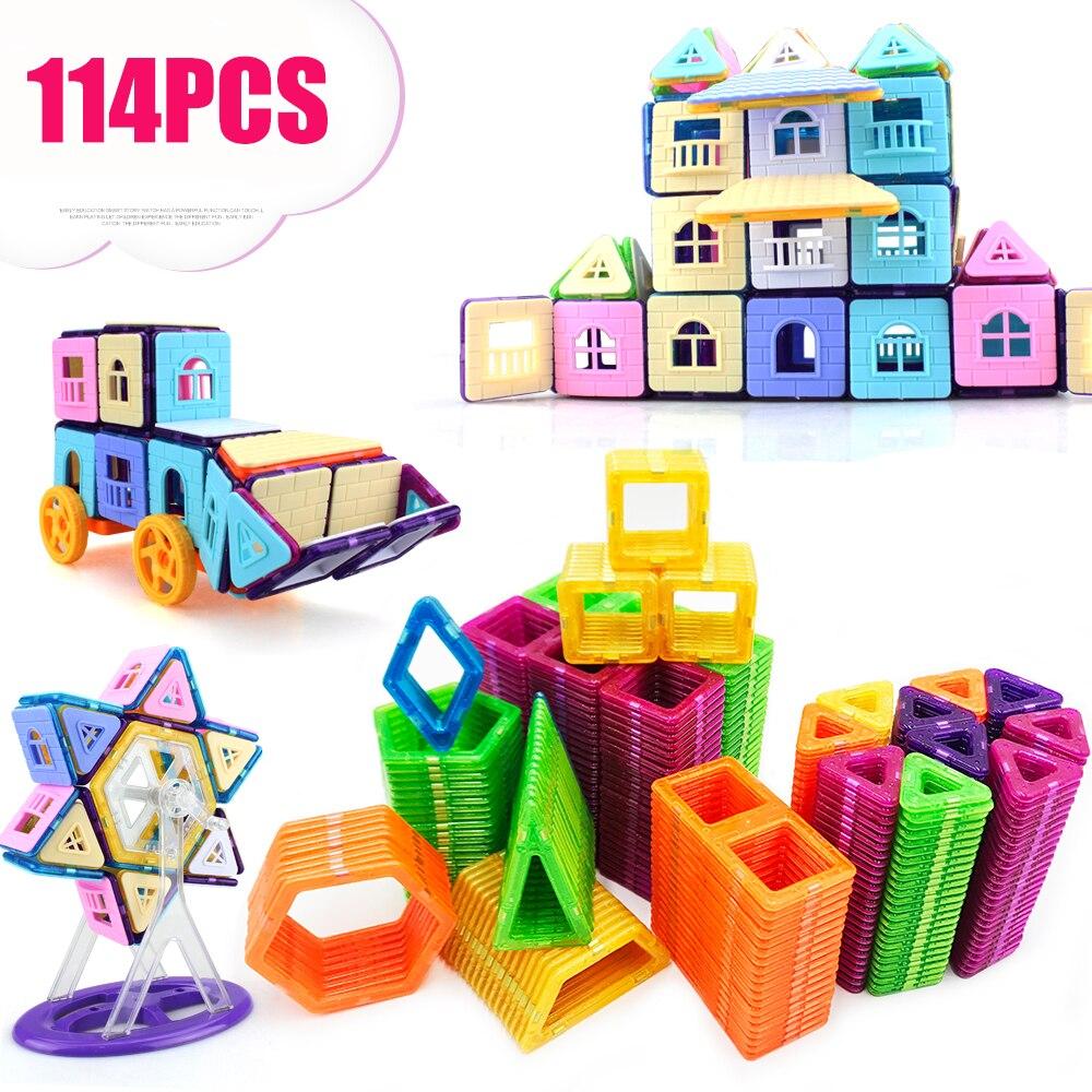 114PCS Mini Magnetic Building Blocks Magnetic Constructor Designer 3D Pulling DIY Educational Toys Kids Magnet Toys