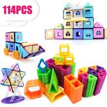 114 шт. мини Магнитные строительные блоки Магнитный конструктор дизайнер 3D потянув DIY развивающая игрушка для детей магнитные игрушки для детей