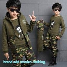 New children outdoor suit boys for age 4 13 kids boy fashion winter clothing children cashmere