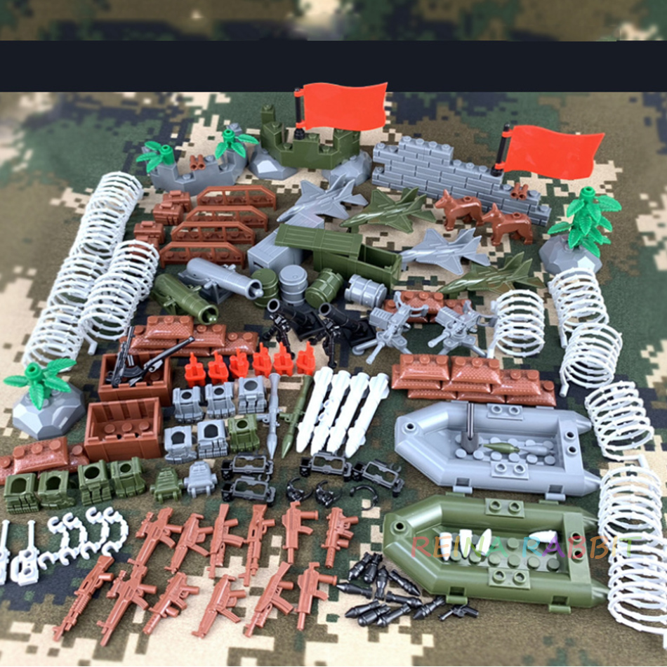 Military Accessories Pack Artillery Guns Weapon Box Planes Boat WW2 DIY MOC Parts Compatible Legoed Army Building Blocks Toys