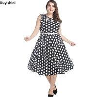 Large Plus Size 3XL 4XL 5XL 6XL 7XL Womens Dress 50s Vintage Sleeveless Polka Dots Ladies