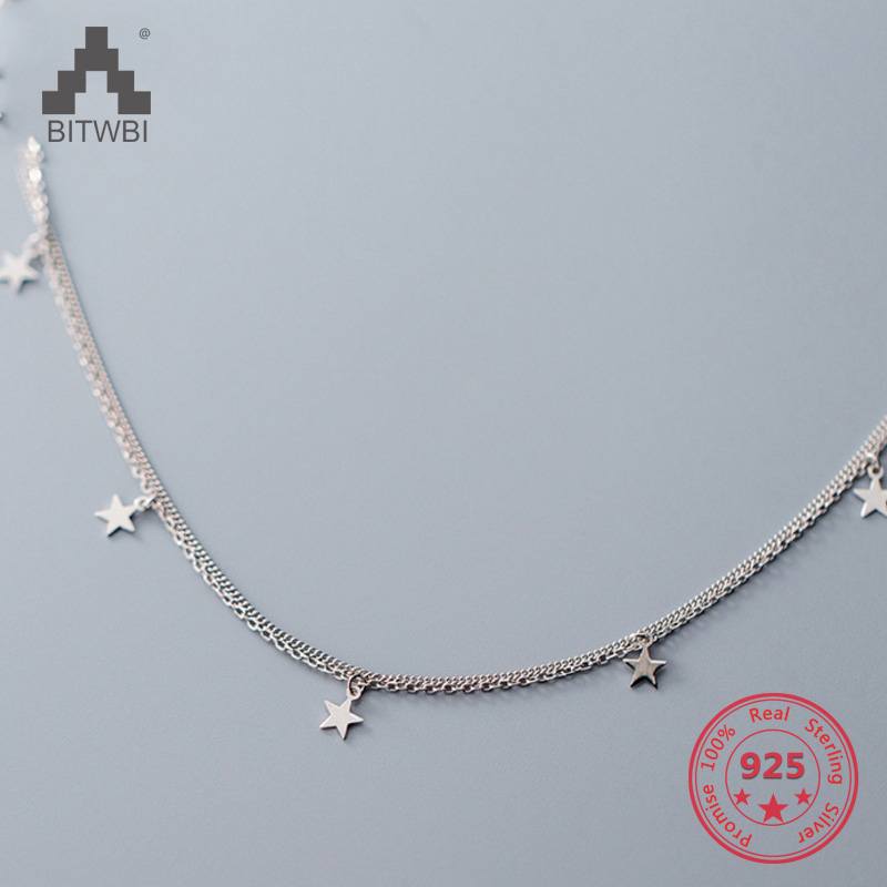 Hot S925 Sterling Silver Fashion Simple Creative Mix Personality Star Pendants Double Clavicle Chain Necklace Womem Jewelry