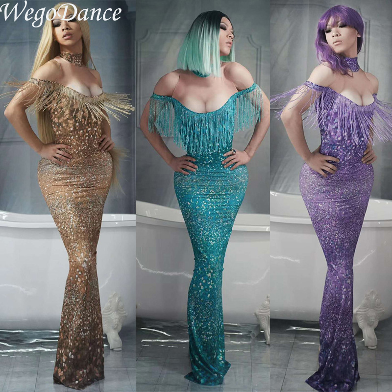 6 Color Women Sexy Tassel Long Dress Full Sparkling Crystals Nightclub Party Stage Wear Singer Costumes