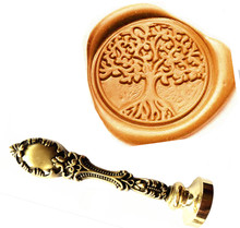 Vintage Tree Of Life Custom Picture Logo Luxury Wax Seal Sealing Stamp Brass Peacock Metal Handle Gift Set