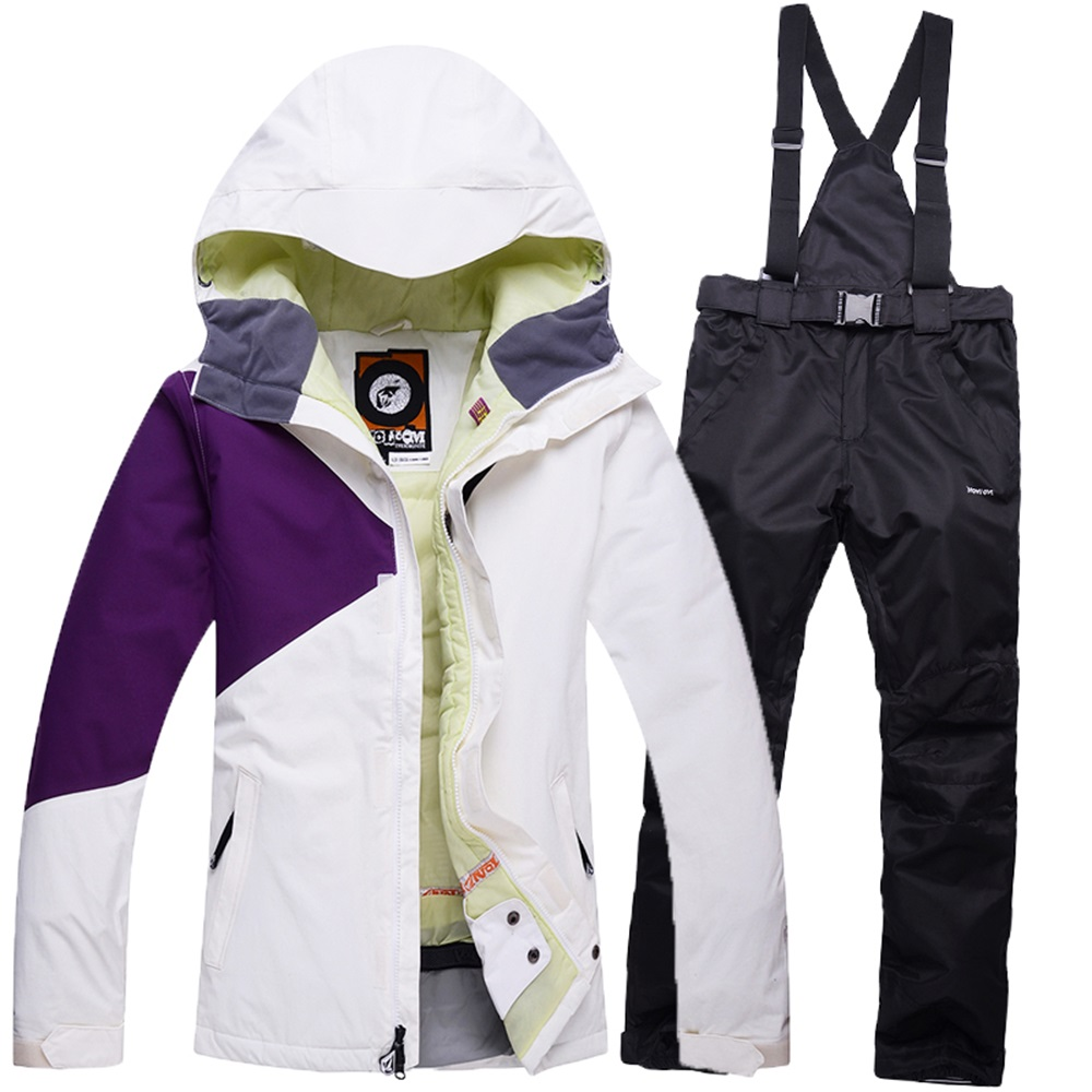 Womens ski jacket Winter Outdoor Super Warm Skiing Suit For Women -30 DEGREE Windproof Ski Jackets + Bib Pants Snowboard Set женские кольца jv женское серебряное кольцо с марказитами и эмалью rga 35747 mz enam wg 18