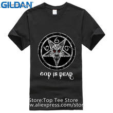 a69af274 T Shirt Print Men'S Short Church Of Satan Is God Dead 666 Number Beast  Lucifer Gothic