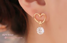 Korean fashion luxury charm drop pierced font b earrings b font zircon women love jewelry wholesale