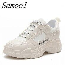 Frühling Herbst modemarke frauen Sneaker Split Leder Freizeitschuhe frauen plattform weiß dicke sohle schuhe chaussure Femme jx2