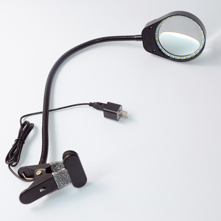 5X 100MM Metal Hose Magnifying Lamp Glass with Light Clip On Illuminated Magnifier Lens-Black