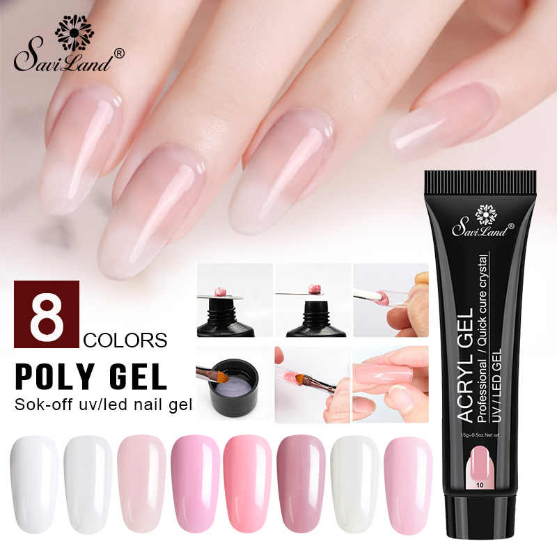 Saviland Poly Gel Uv Nagellak Acryl Gel Quick Building Gel Vernis 15 Ml Vinger Extension Led Hard Builder Gel nail Art