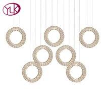 New Modern Dining Room LED Crystal Chandelier 7 Rings Hang Lustres De Cristal Bar Coffee Lighting
