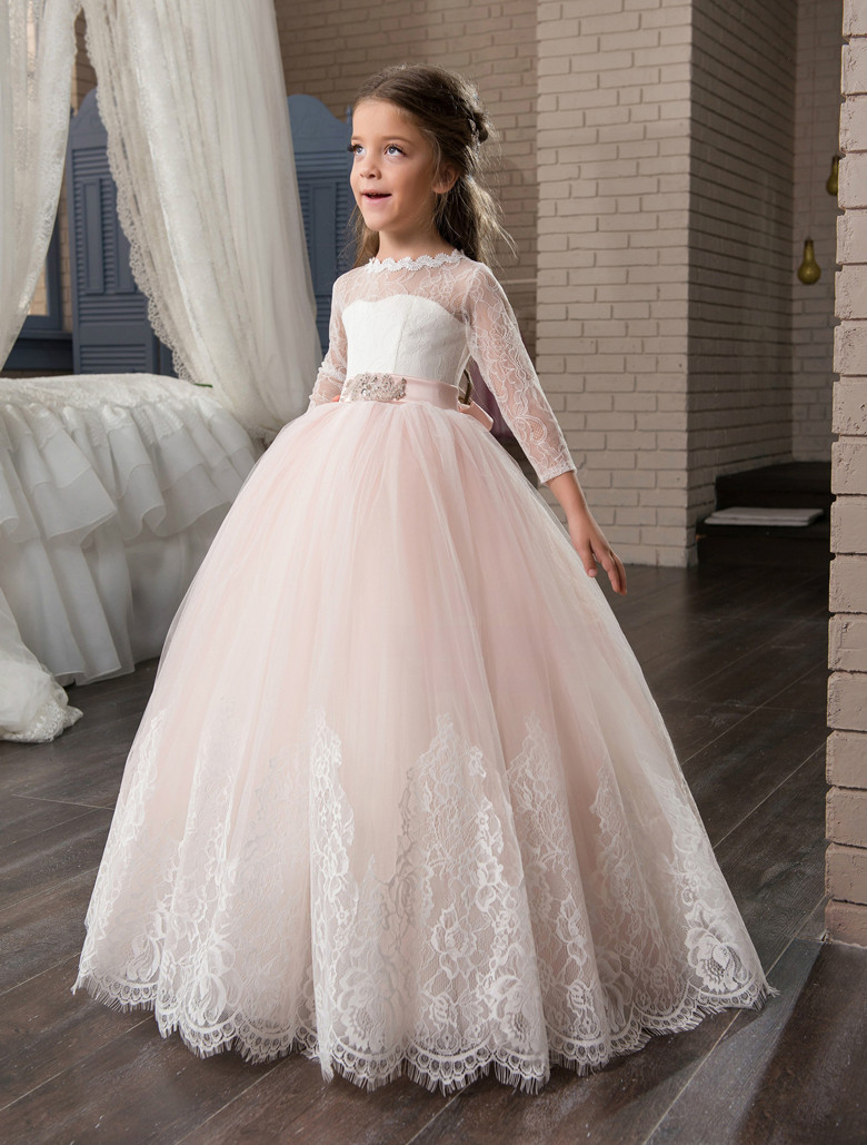 2017 New Arrival Long Sleeve First Communion Dresses Lace Appliques O-neck with Bow Sash Flower Girl Dresses Custom Made Vestido
