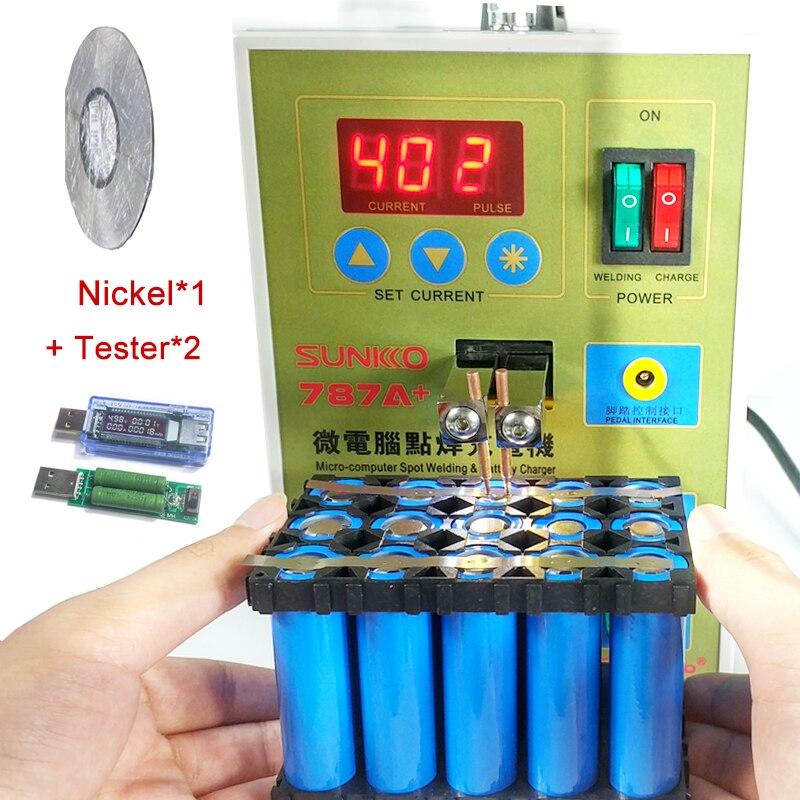 787A + soudeuse par points soudeuse à batterie pour ordinateur portable et téléphone soudage de précision + 1roll0. 1*4mm bande de Nickel + 1ste testeur 220 v