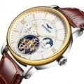 Los hombres relojes de primeras marcas de lujo guanqin sport tourbillon mecánico automático reloj relogio masculino 2016 reloj de los hombres de cuero
