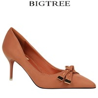 Bigtree Shoes Woman 8cm Women S Pumps Black Butterfly Knot Pointed Toe Thin Heel High Heels