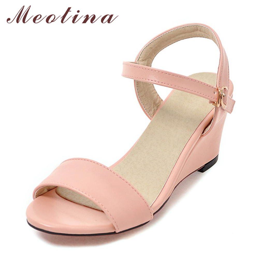Meotina Shoes Women Sandals Summer Women Wedge Sandals Casual Buckle Ladies Shoes Open Toe High Heels Pink White Black 34-43 недорго, оригинальная цена