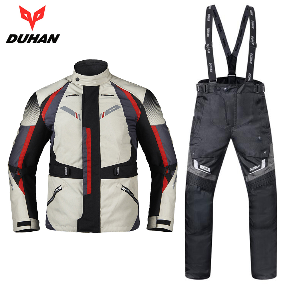 DUHAN Motorcycle Jacket Moto Pants Autumn Winter Clothing Suit Waterproof Cold-proof Motorcycle Pants Set Jaqueta Motoqueiro duhan motorcycle jacket motorcycle pants suit autumn winter cold proof waterproof touring chaqueta moto protective gear