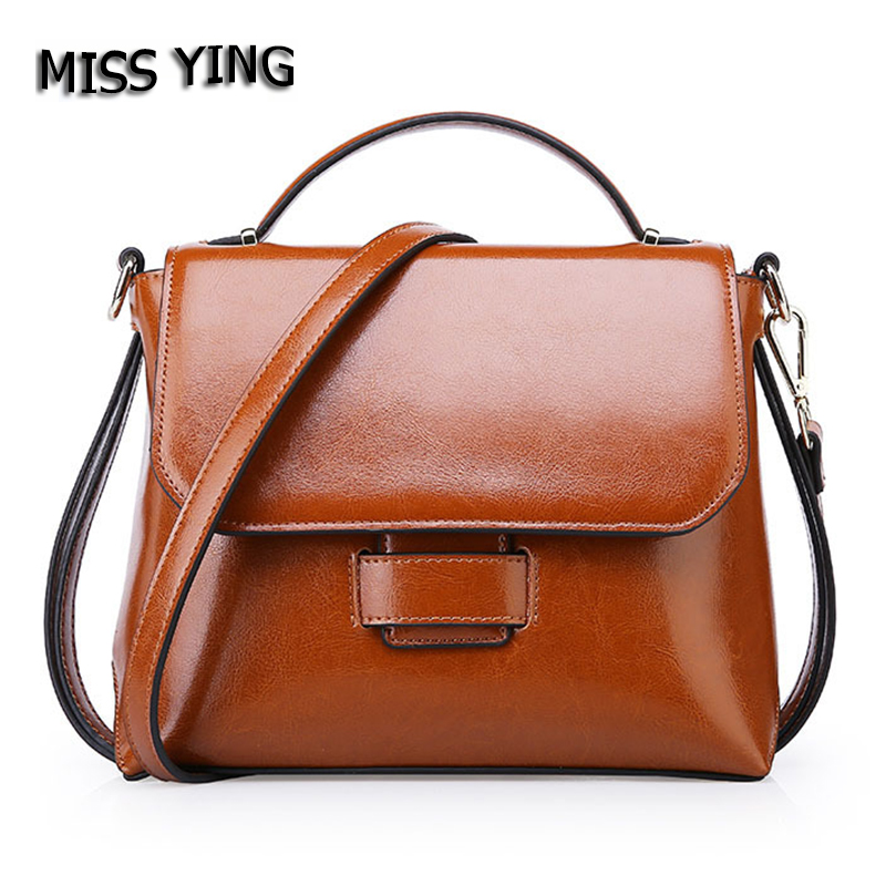 MISS YING Brand Women Genuine Leather Shoulder Bags Female New Fashion High Quality Cowhide Small Handbag Women's messenger bags iceinnight genuine leather bags new design handbag women famous brand messenger bags high quality travel shoulder bag for female