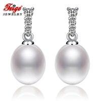FEIGE Hot Sale Pearl Stud Earrings For Women S 8 9mm White Freshwater Pearl Earrings 925