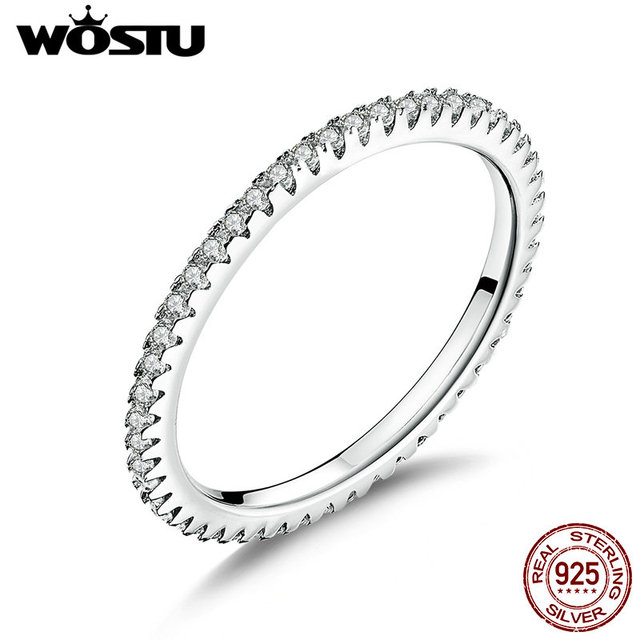 WOSTU Genuine 100% 925 Sterling Silver Simple Geometric Round Single Stackable Finger Rings For Women Christmas GIFT BKR066
