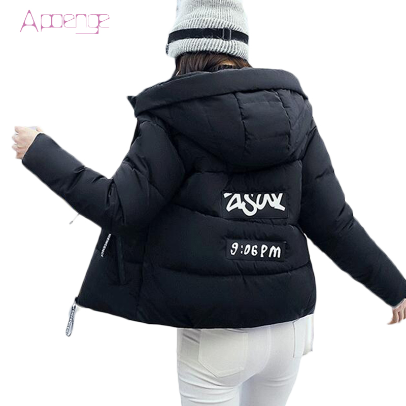 APOENGE Hooded Cotton Jacket Women Winter Short Warm Coats Padded-Cotton Parkas Female OVerwear Slim 2017 New Snow Coats LZ465 winter jacket women 2017 new female 5 color slim cotton padded jackets fashion short hooded zipper parkas coats a1013b 16601