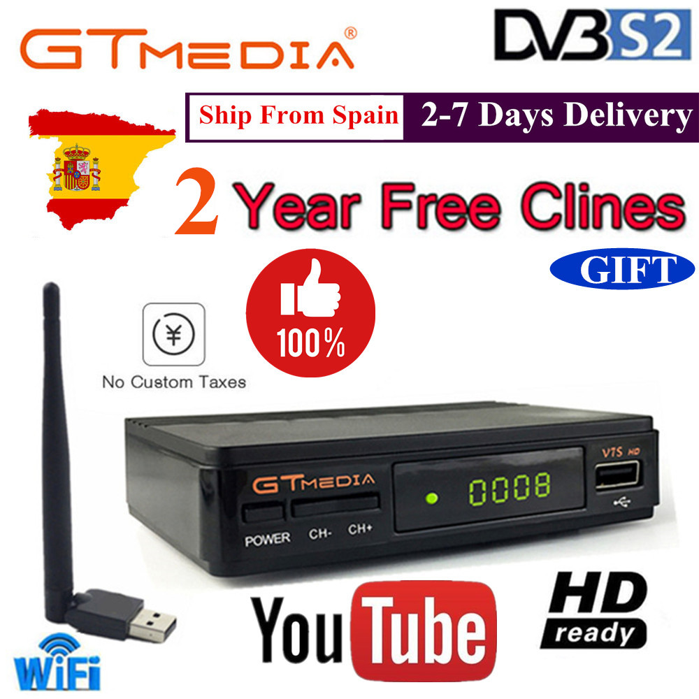 Hot DVB S2 gtmedia v7s hd With USB WIFI FTA TV Receiver V7 hd power +2 Year Europe lines Spain PT DE PO CCcam Powervu TV decoder-in Satellite TV Receiver from Consumer Electronics