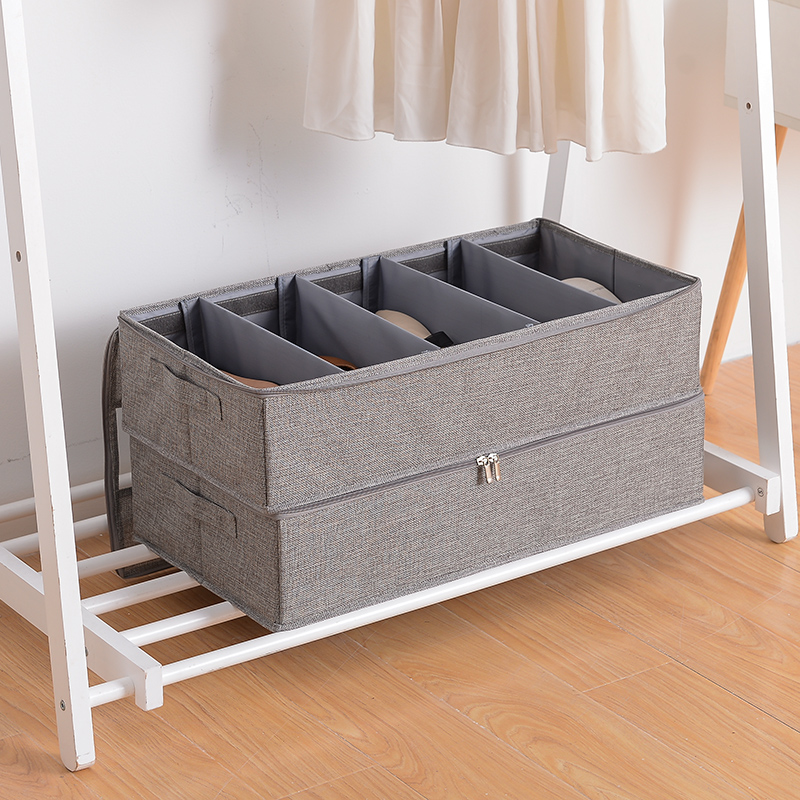 Foldable grid shoe box storage bag thick fabric transparent dust bed bottom boxBed