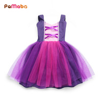 PaMaBa Fashion Adorable Baby Clothes Girls Simple Princess Dresses Summer Off Shoulder Kids Cute Birthday Rapunzel