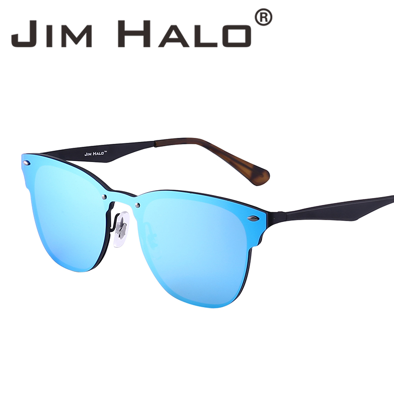 Jim Halo Mirrored Rimless One Piece Horned Rimmed Metal Integrerade - Kläder tillbehör