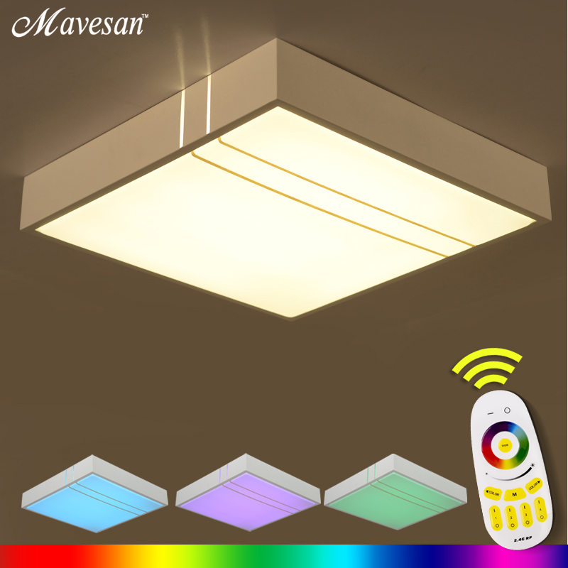 Modern LED Ceiling Light  round/square/rectangle With 2.4G RF Remote Group Controlled Dimmable Color Changing luminaria Lamp юве��ирные кольца rich line кольцо
