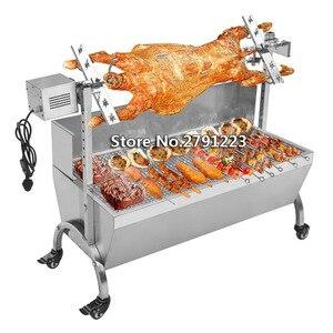 """Image 1 - BBQ Spit Roaster Rotisserie 46"""" Stainless Steel 220V/110V for Pig/ Lamb/Goat/Chicken Rotisserie Spit Kit BBQ Pig Lamb Grill"""