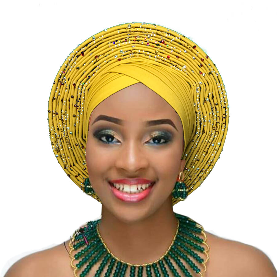 Woman auto gele african headtie wedding headwraps already made turban aso oke gele (4)