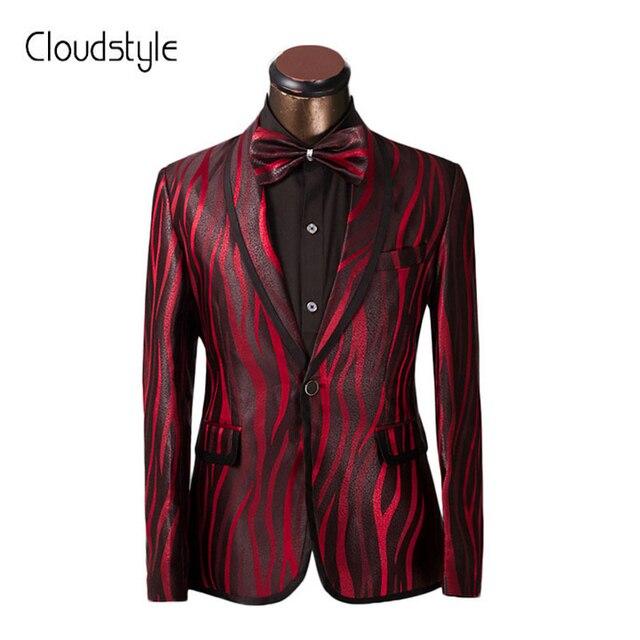 2830a48a0d2d De luxe Hommes Costume Unique Rouge Zèbre Motif Un Bouton Costume veste Slim  Fit De Bal
