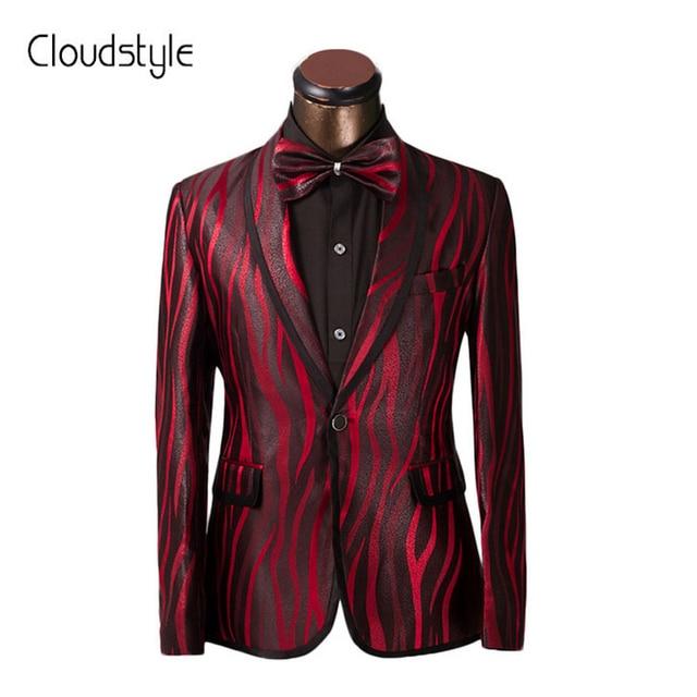 Luxury Men Suit Unique Red Zebra Pattern One Button Suit Jacket Slim ...