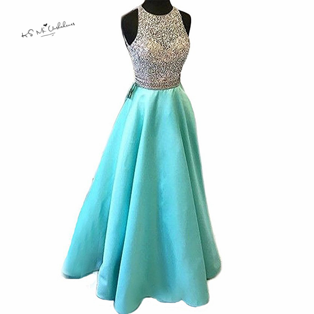 Aliexpress.com : Buy Turquoise Long Prom Party Dresses 2018 Crystals ...