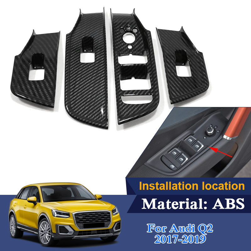 4pcs ABS For Audi Q2 2017 2019 Low Mach Car Styling Interior Door Window Lift Switch