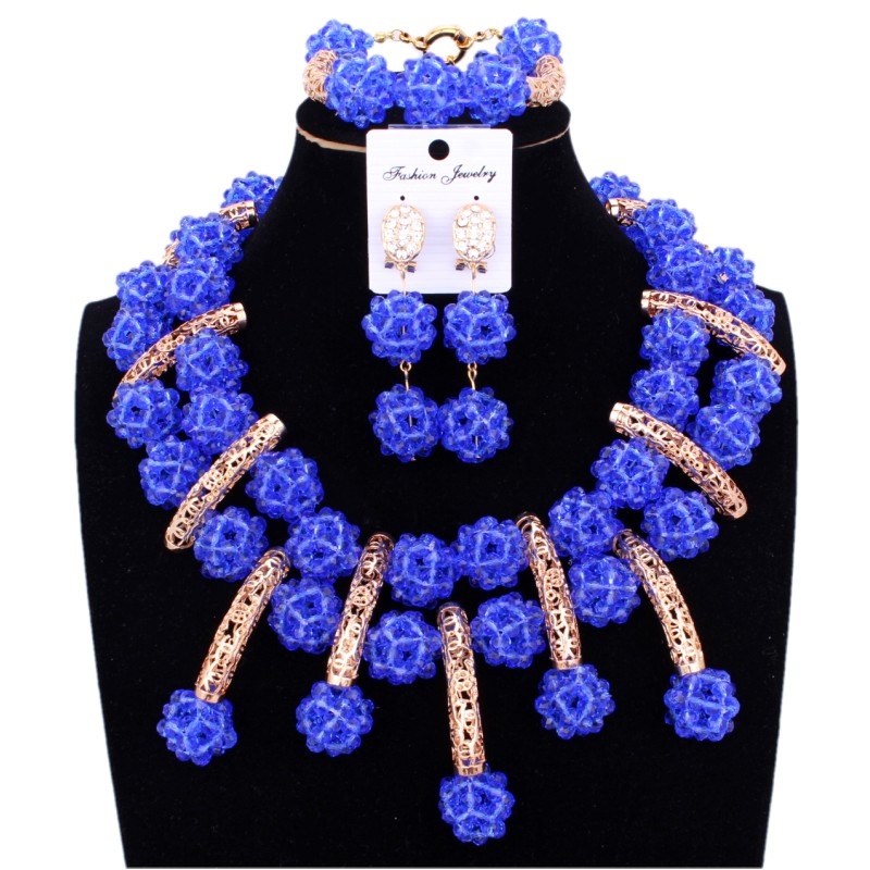 Fashionable Jewelry Set African beads Light Blue Nigeria necklace Women Set Crystal Handmade Balls Bridal Gold Dubai Jewelry Set