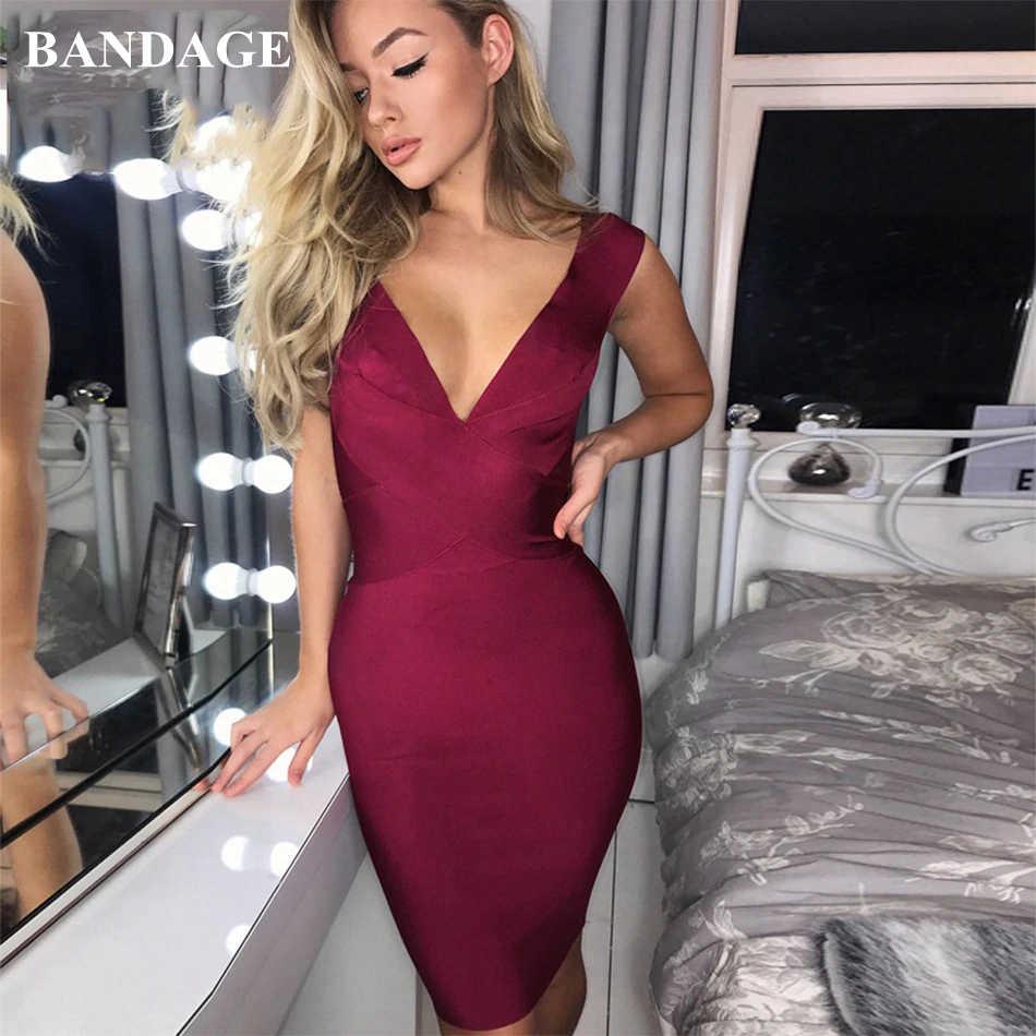 Сексуальные бандажные платья цвета красного вина Оранжевый Зеленый Вечерние платья для ночного клуба новое поступление женское облегающее платье с v-образным вырезом Мода Бесплатная доставка