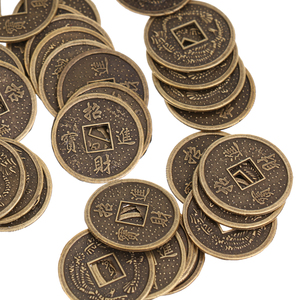 50 Pieces Alloy Chinese Fortune Auspicious Coin Feng Shui I-ching Lucky Coins Artificial Souvenir Decoration 2cm Dia.